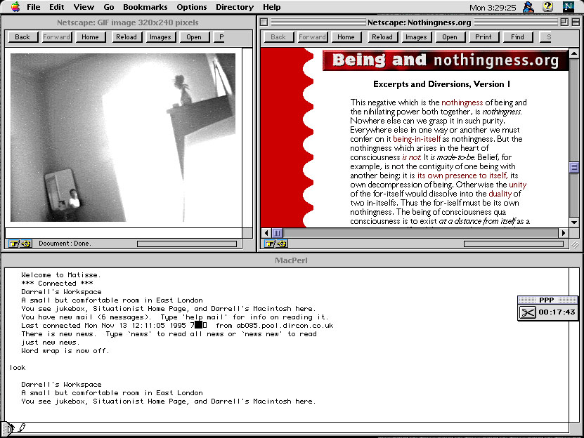 Screengrab of Matisse social media client, 1995